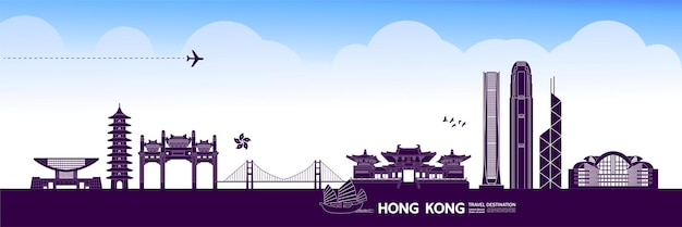 Grande illustrazione della destinazione di viaggio di hong kong.