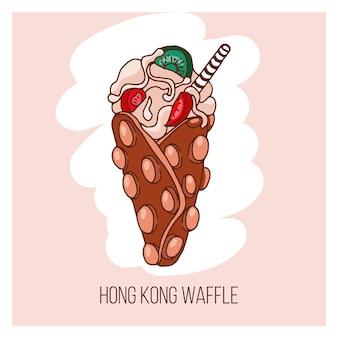 Cialda di hong kong con caramello, gelato e frutti di bosco. fast food di vettore, disegnato a mano
