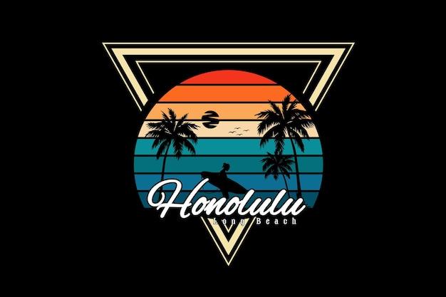 Honolulu lunga spiaggia silhouette design stile retrò