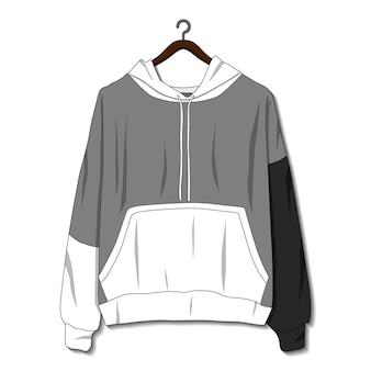 Giacca con cappuccio isolato su sfondo bianco modello di mockup