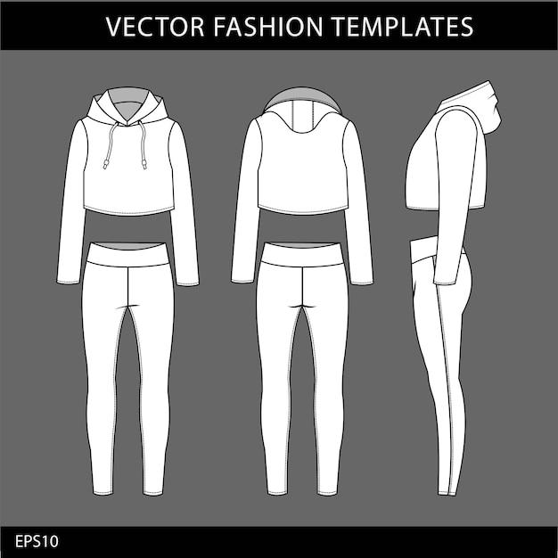 Modello di schizzo piatto moda felpa con cappuccio e legging, vestito da jogging davanti e dietro, abbigliamento sportivo