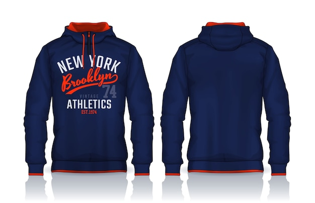 Modello di camicie con cappuccio design giacca, vista anteriore e posteriore della pista di abbigliamento sportivo.