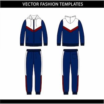 Felpa con cappuccio e pantaloni della tuta modello piatto schizzo moda, vestito jogging davanti e dietro, abbigliamento sportivo