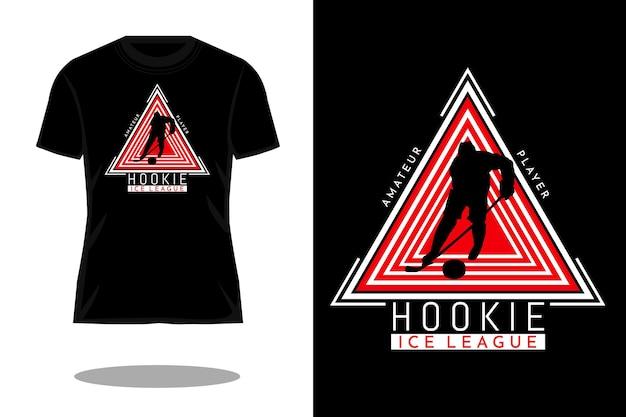 Design vintage della maglietta della siluetta della lega del ghiaccio di hookey