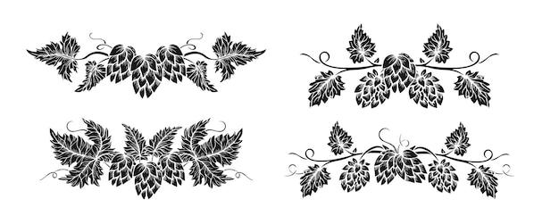 Set di glifi neri in stile schizzo di ramo di pianta di confine di luppolo. cornice disegnata a mano luppolo con foglie e coni elemento di design botanico disegnato a erbe angolari. schizzi vintage per etichetta di design dell'imballaggio della birra, emblema