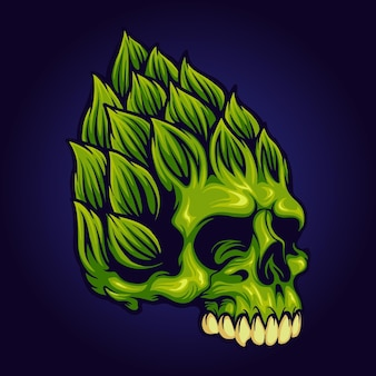 Hop brewery beer skull mascot illustrazioni vettoriali per il tuo lavoro logo, t-shirt di merce mascotte, adesivi e design di etichette, poster, biglietti di auguri pubblicitari società o marchi.