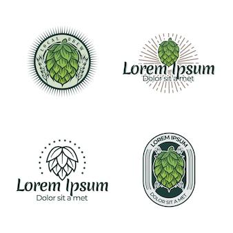 Illustrazione di frutti di luppolo con incisione design in stile vintage, modello di illustrazione di birra locale stile retrò moderno isolato su sfondo bianco