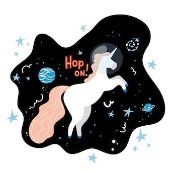 Salta sulla scritta space explorer unicorn t-shirt print per bambini