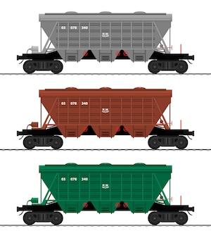 Tramoggia carro merci treno vagoni carrozza ferroviaria set