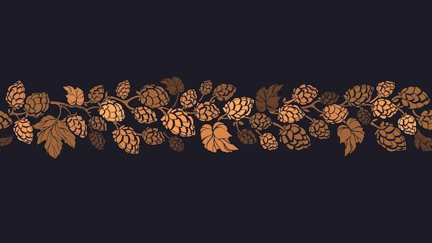 Modello senza cuciture del cono di luppolo. ramo piegato silhouette a base di erbe