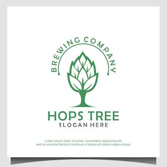 Vettore di progettazione del logo del birrificio dell'albero di luppolo