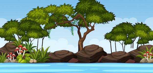 Scena della natura di orizzonte o campagna del paesaggio con vista laterale del lago della foresta e cielo vuoto durante il giorno