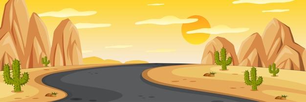 Scena della natura di orizzonte o campagna del paesaggio con la strada di mezzo in vista del deserto e vista del cielo al tramonto giallo