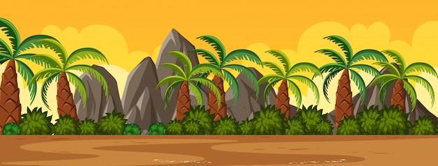 Scena della natura di orizzonte o campagna del paesaggio con vista delle palme e vista del cielo al tramonto giallo