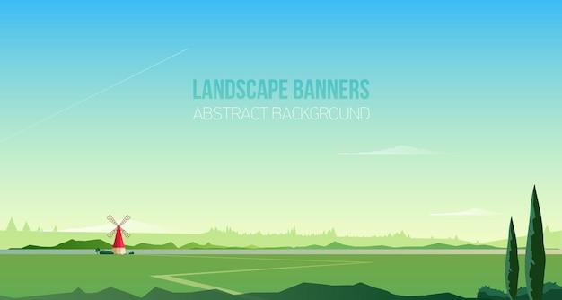 Modello di sfondo o banner orizzontale con spettacolare paesaggio rurale o scenario naturale