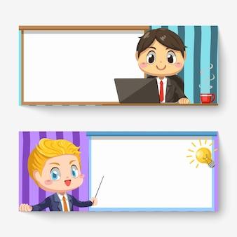 L'insegna orizzontale dell'uomo d'affari usa il computer portatile e ha una buona idea nella sala riunioni nel personaggio dei cartoni animati, illustrazione piana isolata