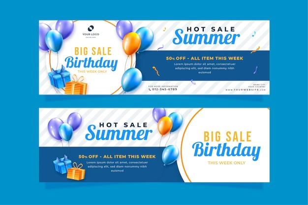 Disegni di banner orizzontali per la festa di compleanno