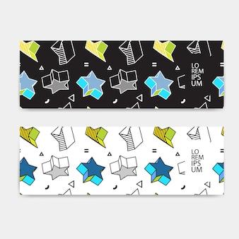 Set di banner orizzontale, orientamento orizzontale, modello colorato modello con grafica 3d in stile pop art.