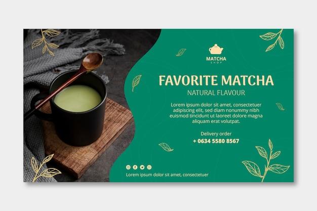 Modello di banner orizzontale per tè matcha