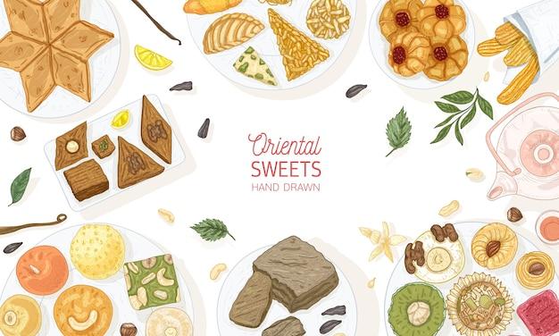 Modello di banner orizzontale con dolci orientali che si trovano sui piatti