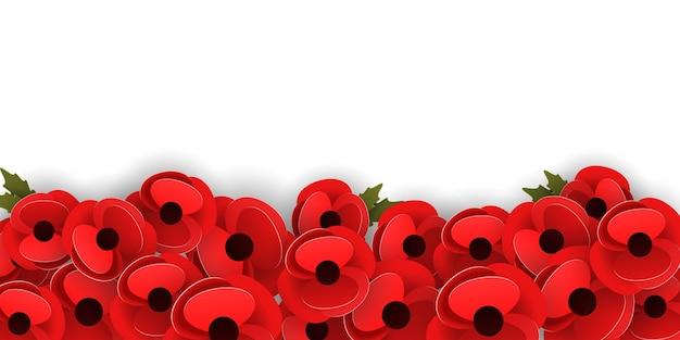 Modello di banner orizzontale con fiori di papavero rosso su sfondo bianco. concetto di giorno della memoria