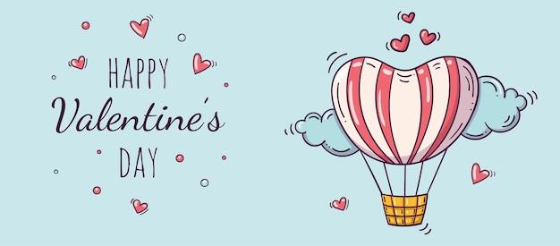 Banner orizzontale con mongolfiera in stile doodle per san valentino.