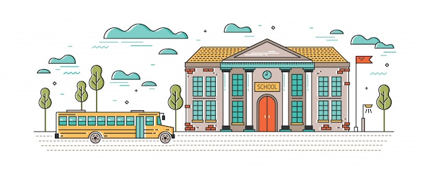 Banner orizzontale con edificio scolastico classico e autobus per bambini che guidano su strada.