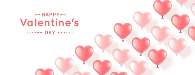 Banner orizzontale con palloncini rosa a forma di cuore su sfondo bianco. realistico romantico per san valentino
