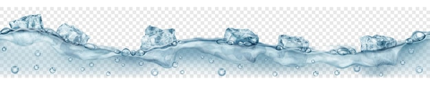 Banner orizzontale con onda senza soluzione di continuità. cubetti di ghiaccio grigi traslucidi e molte bolle d'aria che galleggiano nell'acqua su sfondo trasparente. trasparenza solo in formato vettoriale