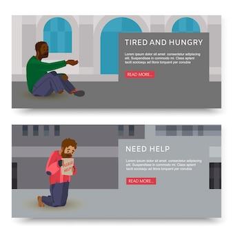 Striscioni orizzontali con illustrazioni di poveri e senzatetto