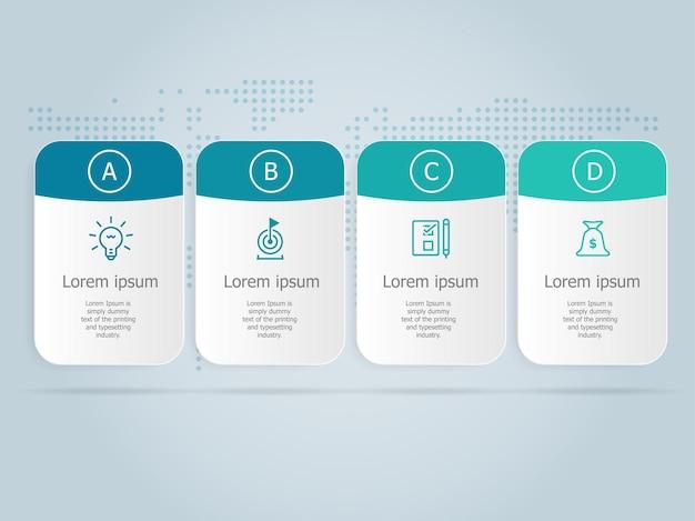 Modello di infographics di affari orizzontale disign con icone 4 passaggi o opzione