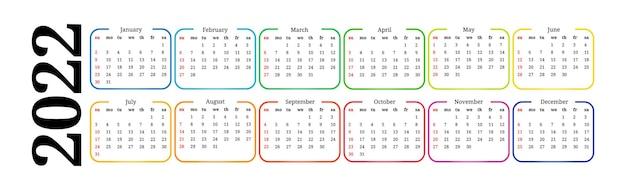 Calendario orizzontale per il 2022 isolato su uno sfondo bianco. da domenica a lunedì, modello di business. illustrazione vettoriale