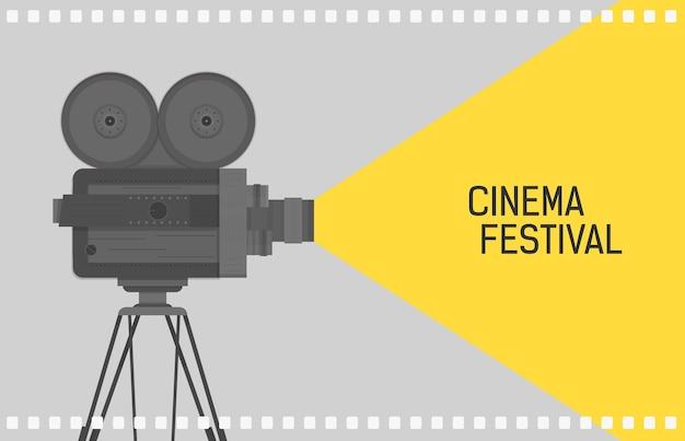 Orizzontale per festival del cinema con fotocamera retrò o proiettore cinematografico in piedi su treppiede