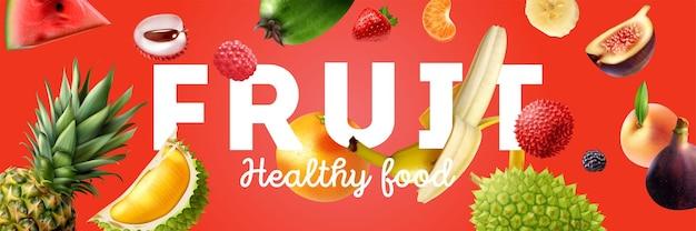 Poster orizzontale di frutti colorati e realistici orizzontali con levitazione di frutta e grande titolo