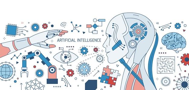 Banner orizzontale colorato con robot o androide, braccio robotico, dispositivi elettronici innovativi e ruote dentate su bianco