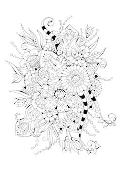 Pagina da colorare orizzontale con fiori astratti per bambini e adulti