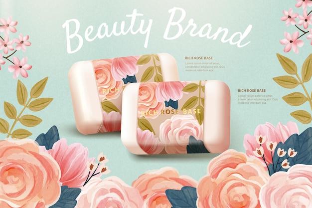 Modello di annuncio cosmetico orizzontale combinato con un modello realistico di sapone alla rosa