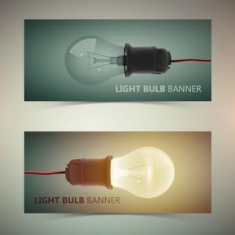 Banner creativi orizzontali con lampadine realistiche isolate