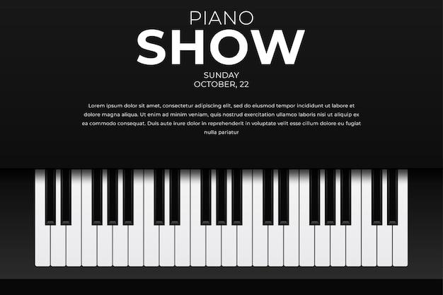 Modello di progettazione orizzontale con vista dall'alto tasti del pianoforte