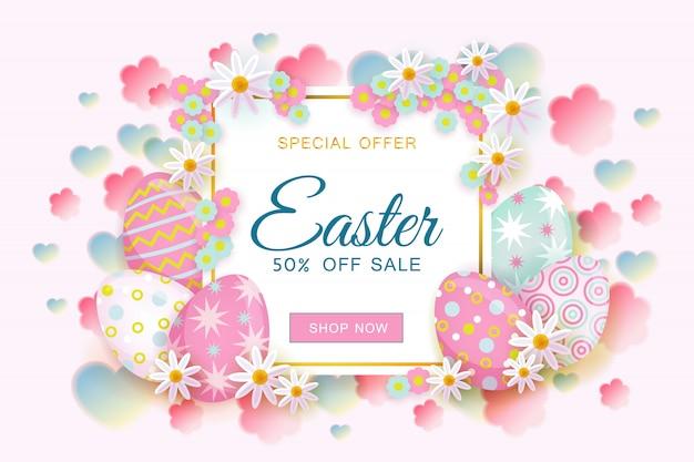 Banner orizzontale di vendita di pasqua con cornice quadrata decorata con fiori e uova dipinte