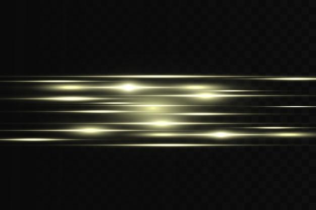 Flare orizzontale. fasci laser orizzontali, fasci di luce. strisce luminose su uno sfondo scuro.