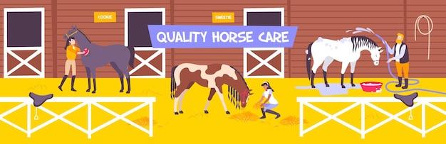 Illustrazione di fattoria stabile per cavalli orizzontale e piatta