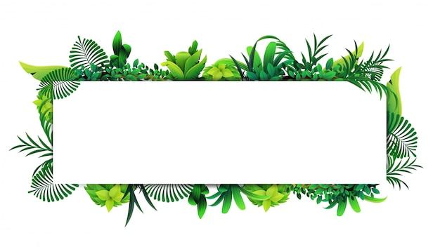 Cornice orizzontale di foglie tropicali intorno a un rettangolo bianco vuoto. disposizione di un bordo fatto di elementi tropicali
