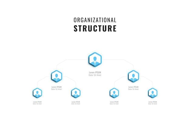 Modello di gerarchia orizzontale con elementi esagonali azzurri su sfondo bianco