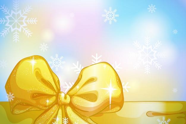 Banner orizzontale vacanza con fiocco oro, fiocchi di neve
