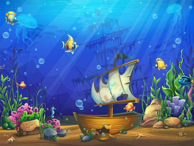 Illustrazione orizzontale dell'oceano sottomarino con una goletta affondata
