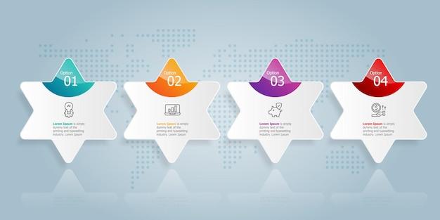 Modello di elemento di presentazione infografica orizzontale con sfondo di illustrazione vettoriale di opzioni 4 opzioni di affari