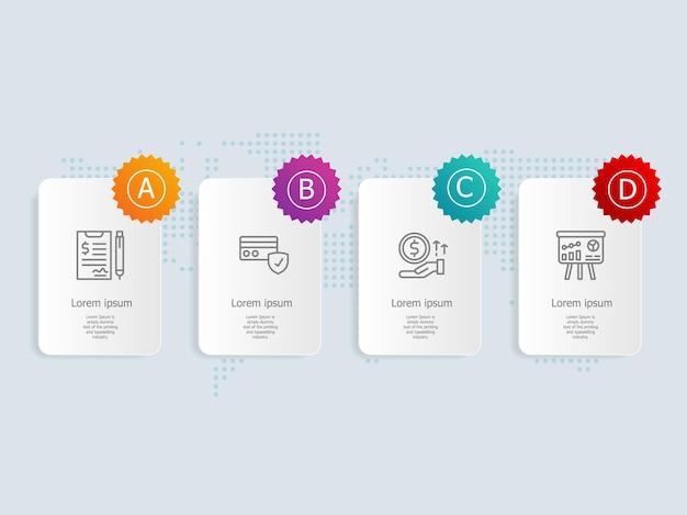 Modello di elemento di presentazione infografica orizzontale con opzioni di icona di affari 4