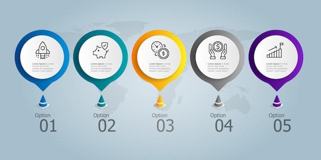 Modello di elemento di presentazione infografica orizzontale con icona di affari 5 opzioni illustrazione vettoriale sfondo