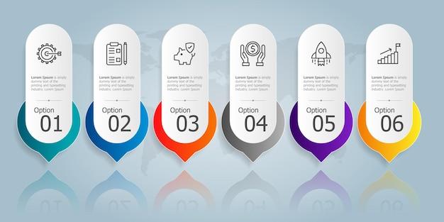 Modello di elemento di presentazione infografica orizzontale con icona di affari 6 opzioni illustrazione vettoriale sfondo